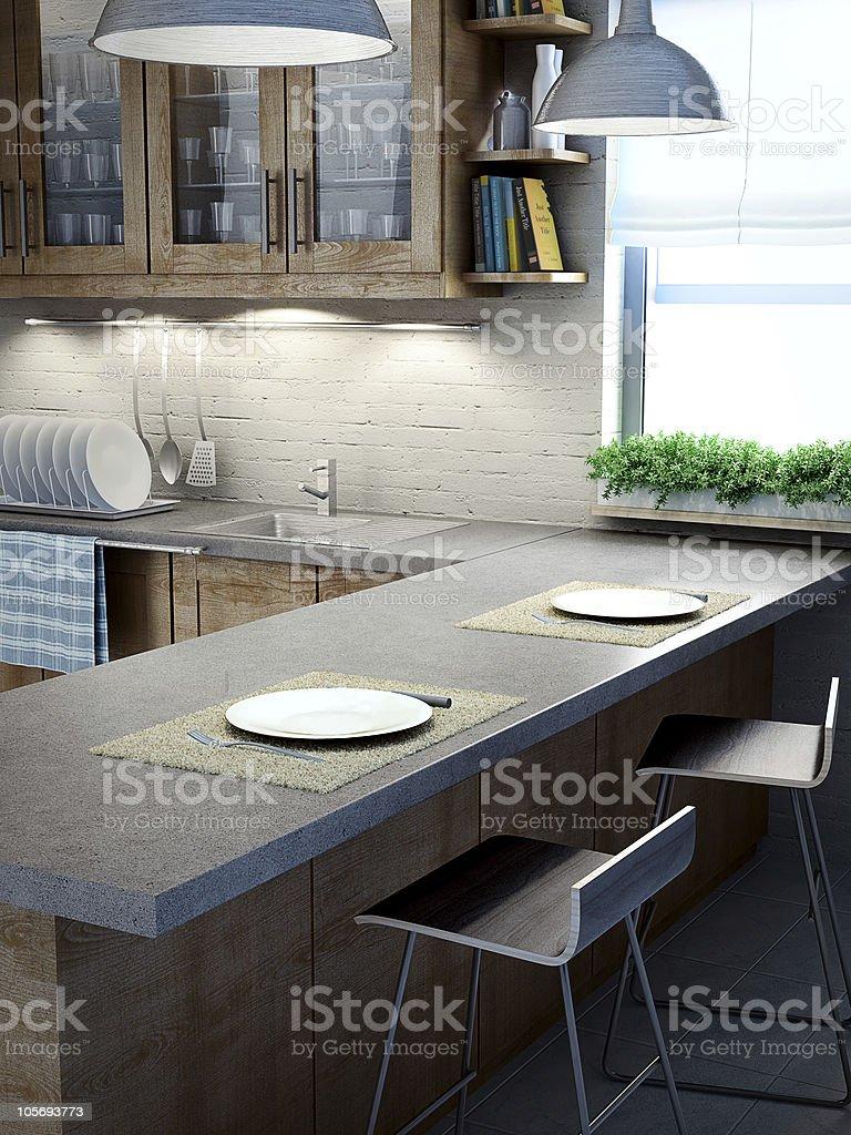 Moderne Küche Innenansicht – Foto