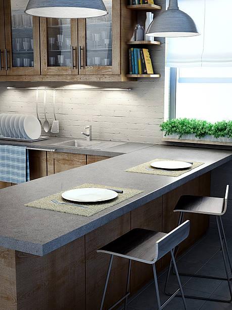 Modern kitchen interior view stock photo