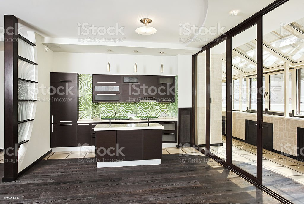 Modern Kitchen interior with balcony royalty-free stock photo