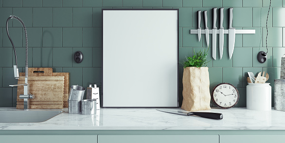 Modern kitchen interior with empty banner, mock up, 3d render