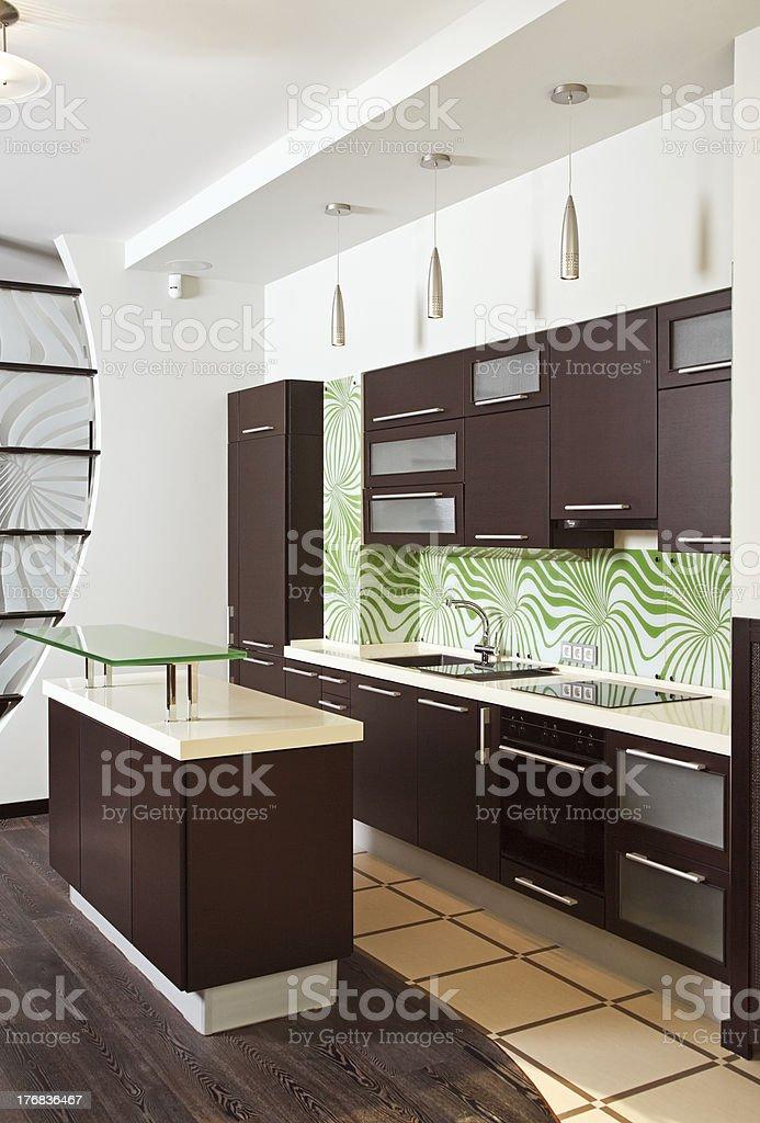 Modern Kitchen interior with hardwood furniture royalty-free stock photo