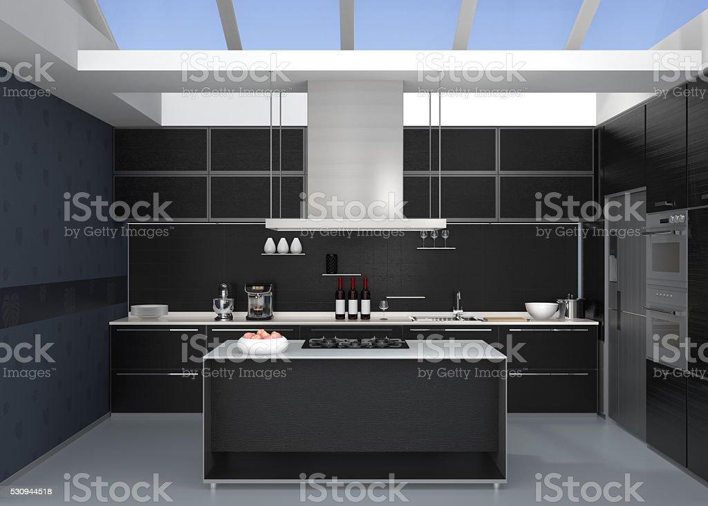Interno Di Cucina Moderna Con Elettrodomestici In Stile Colore Nero ...