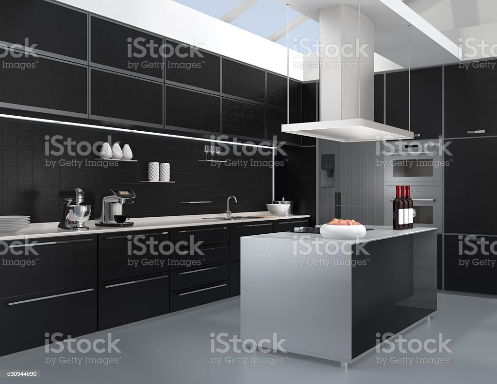 Interior Da Cozinha Moderna Com Utens Lios Na Cor Preta Inteligente