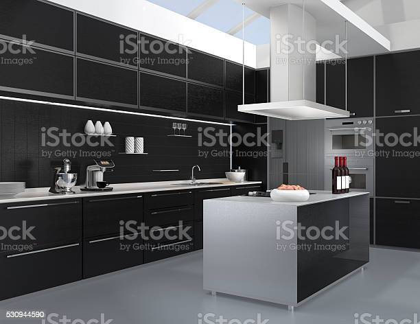 Modern Kitchen Interior With Smart Appliances In Black Color Coordination Stock Photo Download Image Now Istock