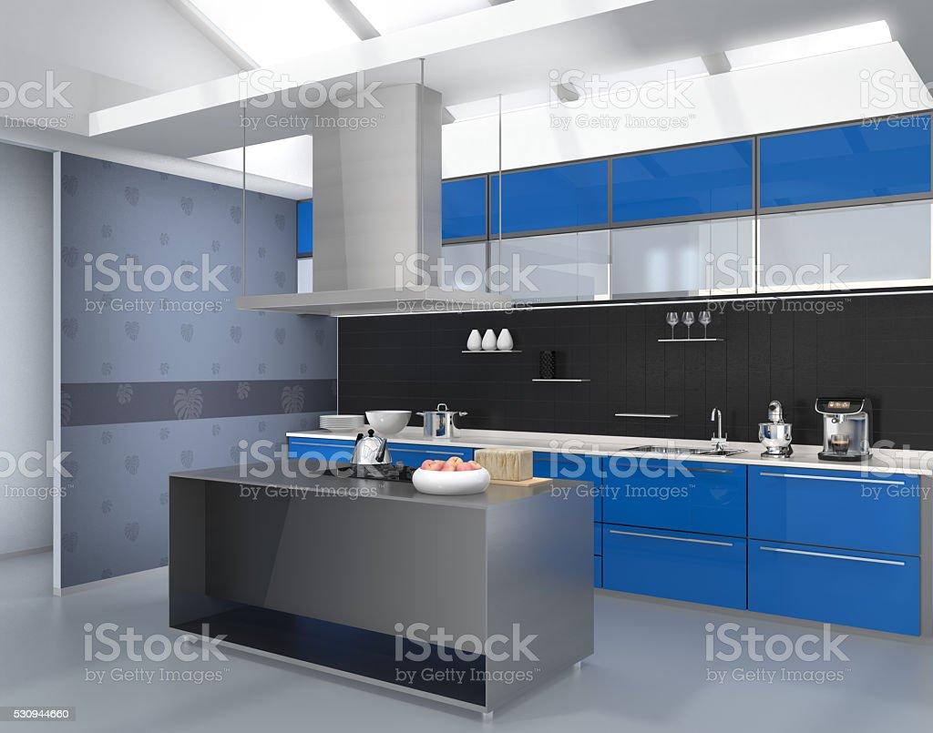 Interior Da Cozinha Moderna Com Utens Lios Na Cor Azul Inteligente