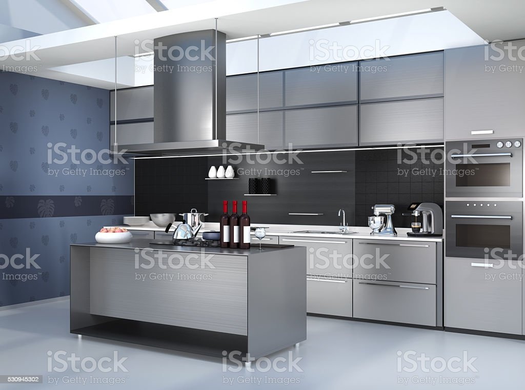 Modern kitchen interior with smart appliances in silver color