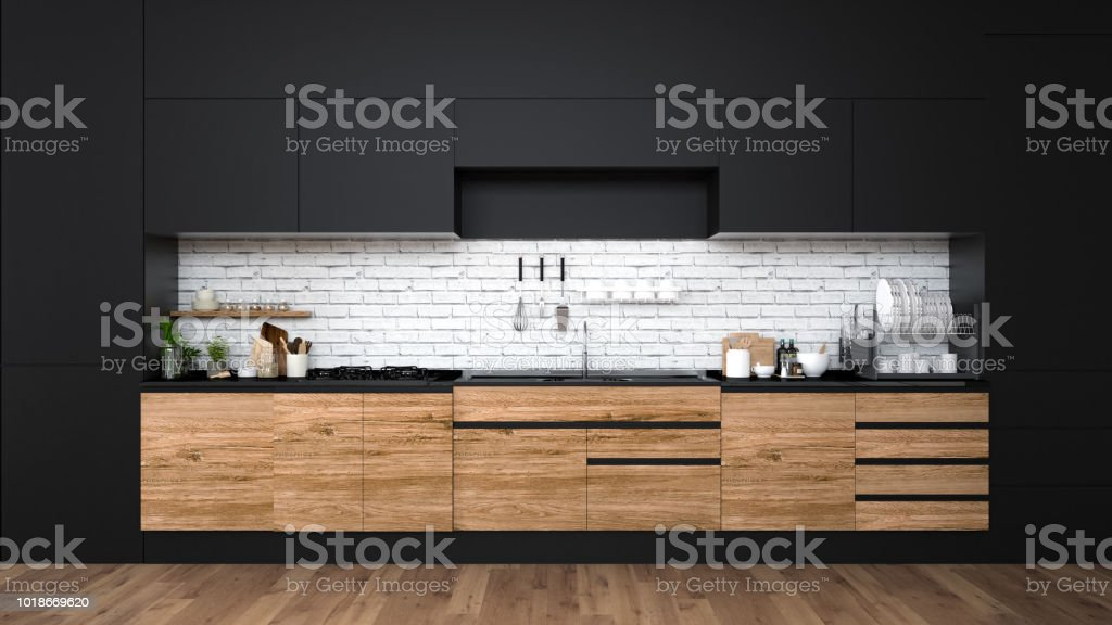 Modern Kitchen Interior3d Rendering Stock Photo More Pictures Of