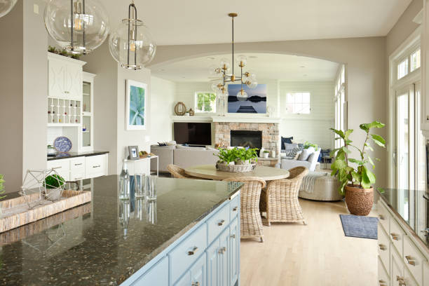 Modern Kitchen Living Room Hone design with open concept stock photo