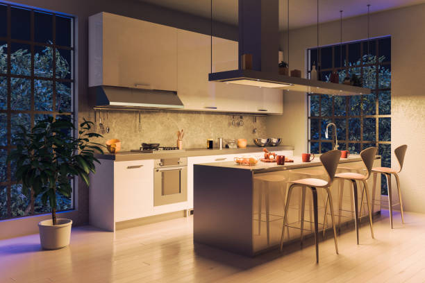 modern kitchen night scene - domestic kitchen stock photos and pictures