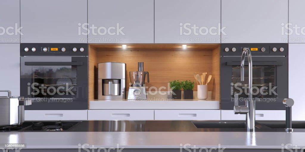 Modern kitchen Kitchen zoom Apartment Stock Photo