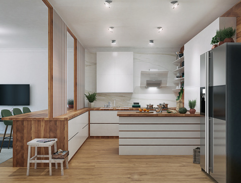 Picture of functional kitchen idea. Render image.