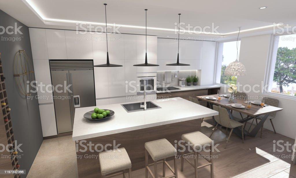 Modern Kitchen Render of Modern Kitchen Apartment Stock Photo