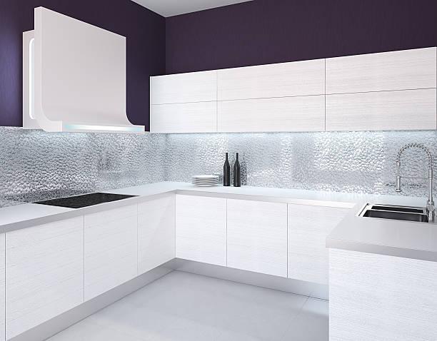 moderne küche - küche deko lila stock-fotos und bilder