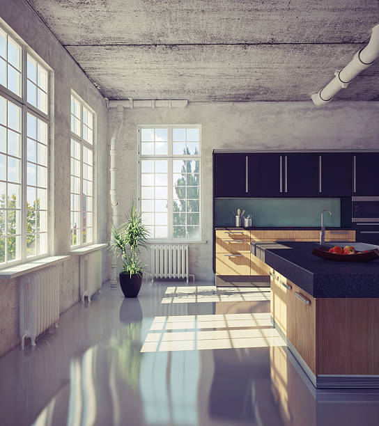 modern kitchen - cement floor stock photos and pictures