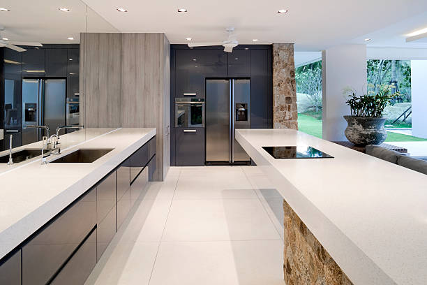 modern kitchen - hawaii home stock photos and pictures