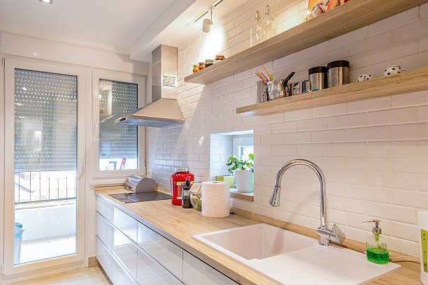 modern kitchen - kitchen sink stock photos and pictures
