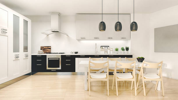 modern kitchen - domestic kitchen stock photos and pictures