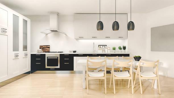 moderne küche - outdoor esszimmer stock-fotos und bilder