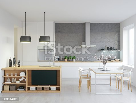 Render shot of modern kitchen, with some living room details/
