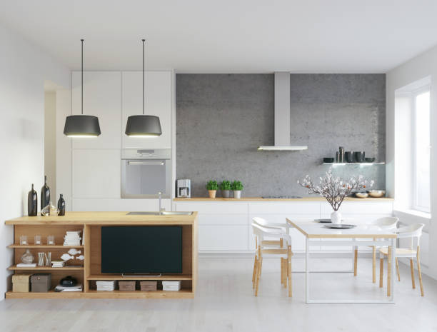 Modern kitchen Render shot of modern kitchen, with some living room details/ scandinavian culture stock pictures, royalty-free photos & images