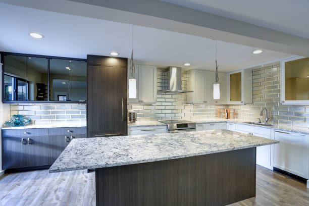 Modern kitchen room in a condo home stock photo