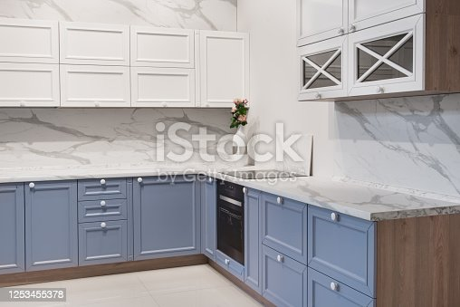 665910118 istock photo Modern kitchen room interior with furniture and counter for concept design - light home background 1253455378