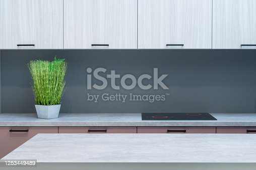 665910118 istock photo Modern kitchen room interior with furniture and flowers on counter for concept design - light home background 1253449489