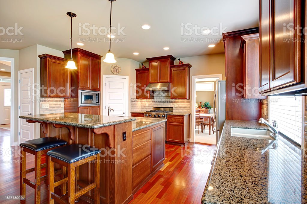 Modern Kitchen Room With Oak Cabinets Stock Photo Download Image Now Istock