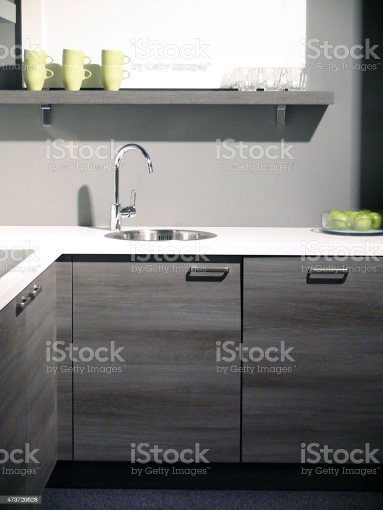 Modern Kitchen Sink With Coffee Cups stock photo
