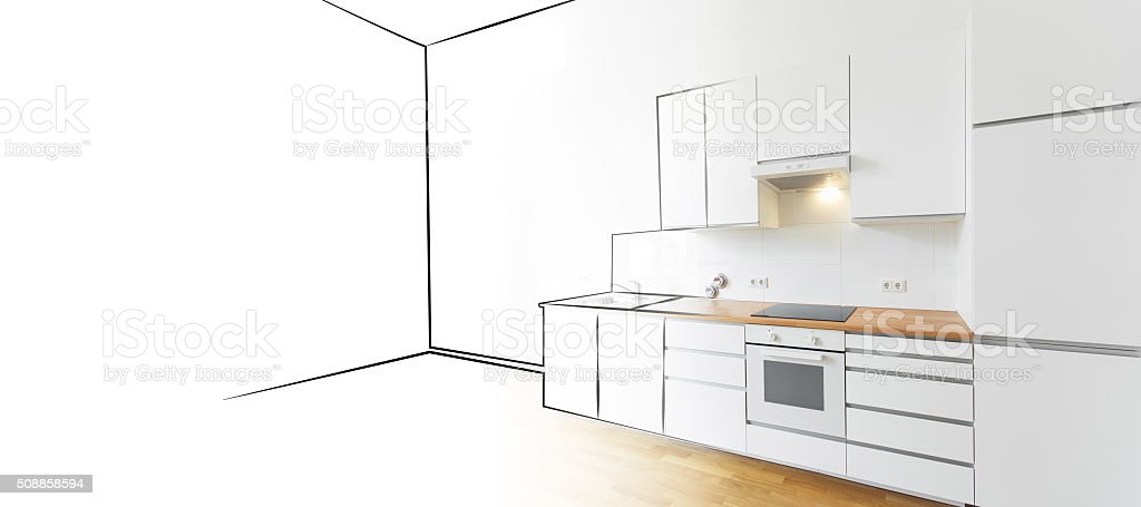 modern kitchen sketch and photo - interior design concept stock photo