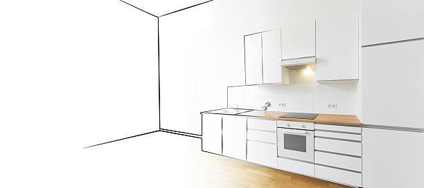 moderne küche skizze und foto-innenarchitektur - küche neu gestalten ideen stock-fotos und bilder