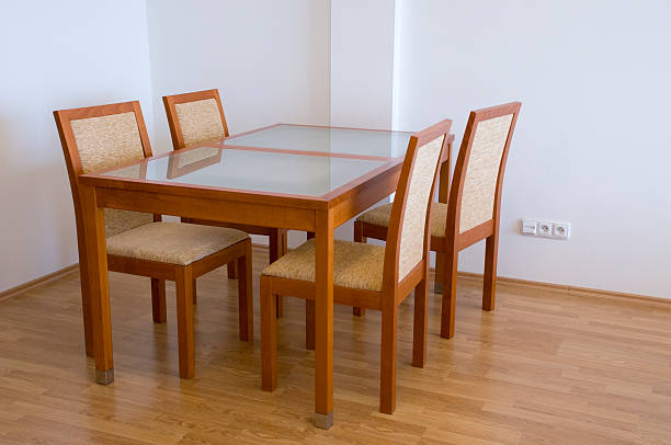 Modern kitchen table with chairs stock photo