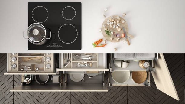 modern kitchen top view, opened drawers and stove with cooking pan, minimalist interior design - domestic kitchen stock photos and pictures