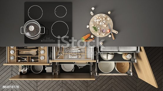 istock Modern kitchen top view, opened drawers and stove with cooking pan, minimalist interior design 864516176