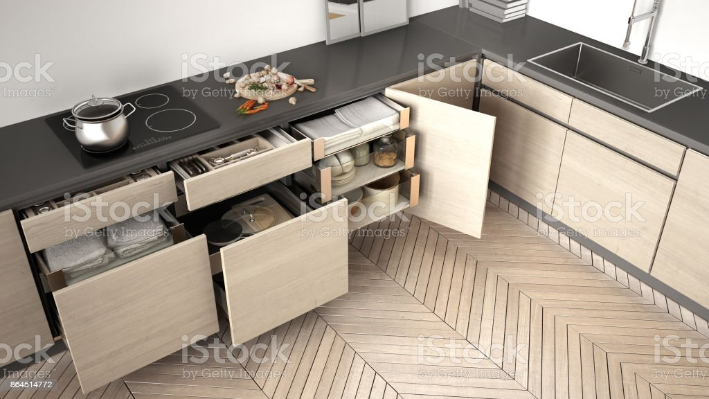Modern Kitchen Top View Opened Wooden Drawers With Accessories