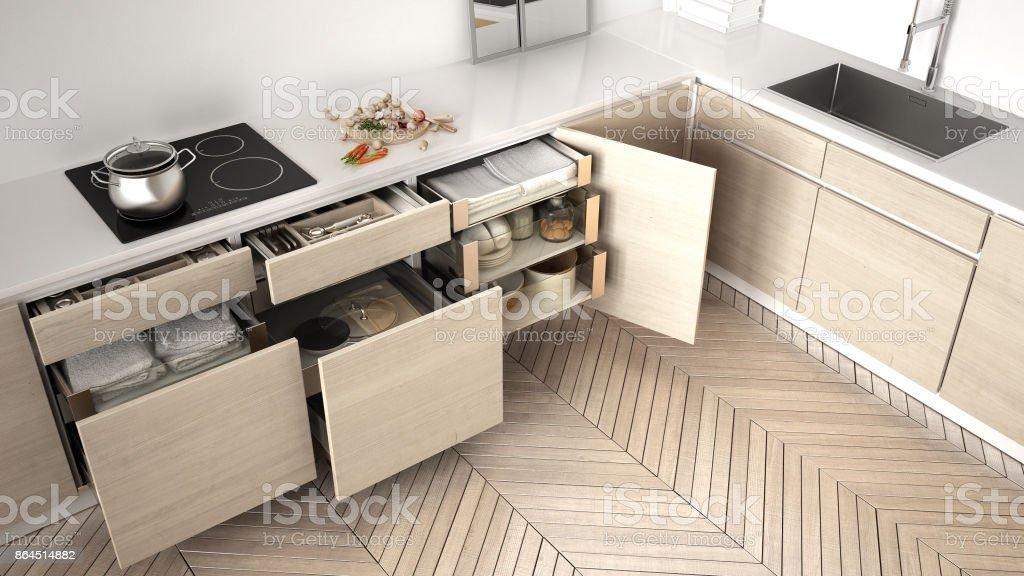 vue de dessus de cuisine moderne ouvert des tiroirs en bois avec accessoires l