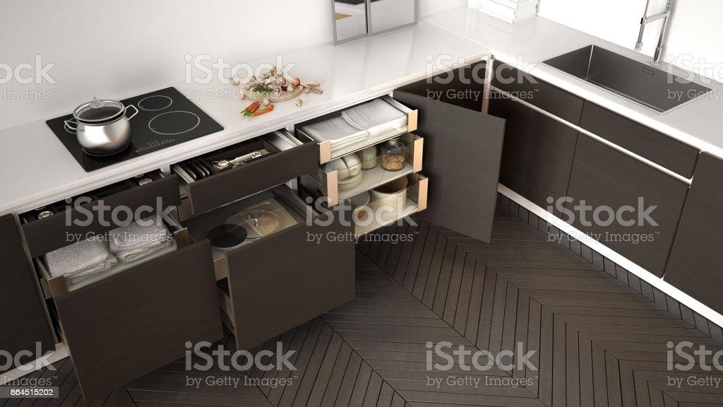 Vista Superior De La Cocina Abrió Cajones De Madera Con ...