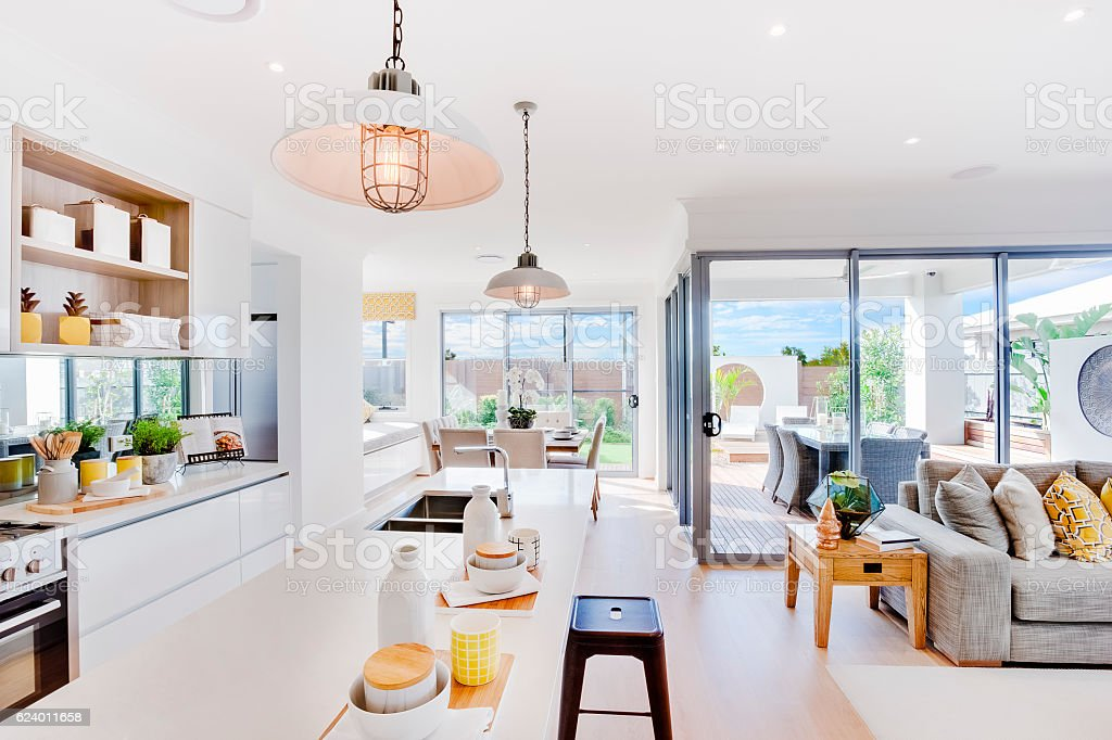 Modern kitchen with a dining and patio area stock photo