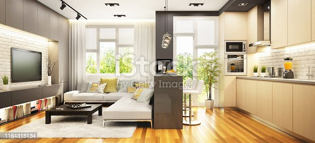 istock Modern kitchen with bar and living room in the big house 1164315134