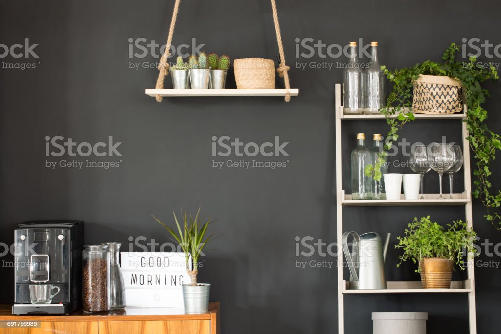 Modern kitchen with black wall stock photo