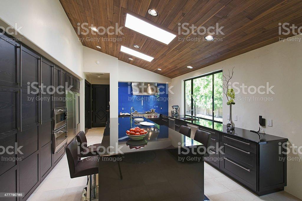Modern Kitchen With Breakfast Bar stock photo