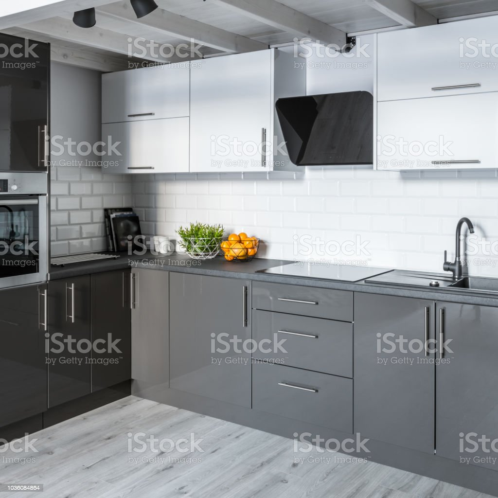 Modern Kitchen With Brick Tiles Stock Photo Download Image Now Istock