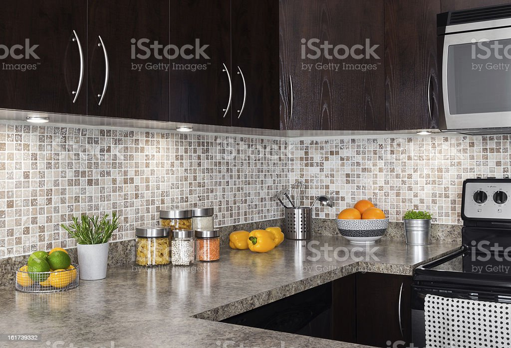 Modern kitchen with cozy lighting stock photo