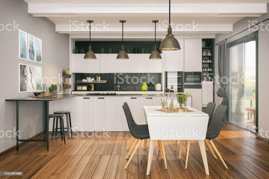 Moderne Küche Mit Essbereich Stockfoto und mehr Bilder von ...