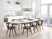 Modern kitchen with dining room. Render image.