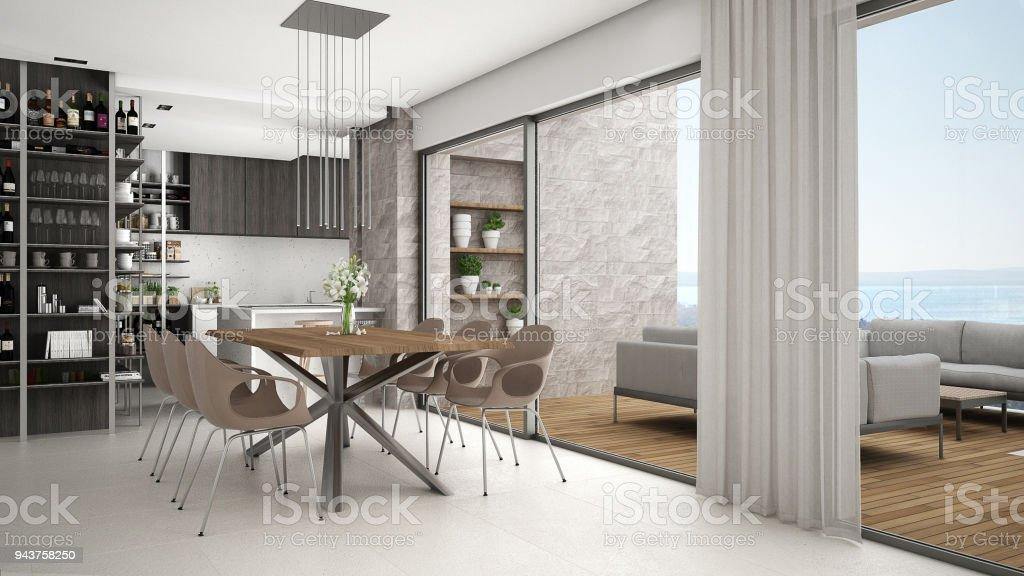 Moderne Kuche Mit Esstisch Und Stuhle Grosse Panoramafenster Mit