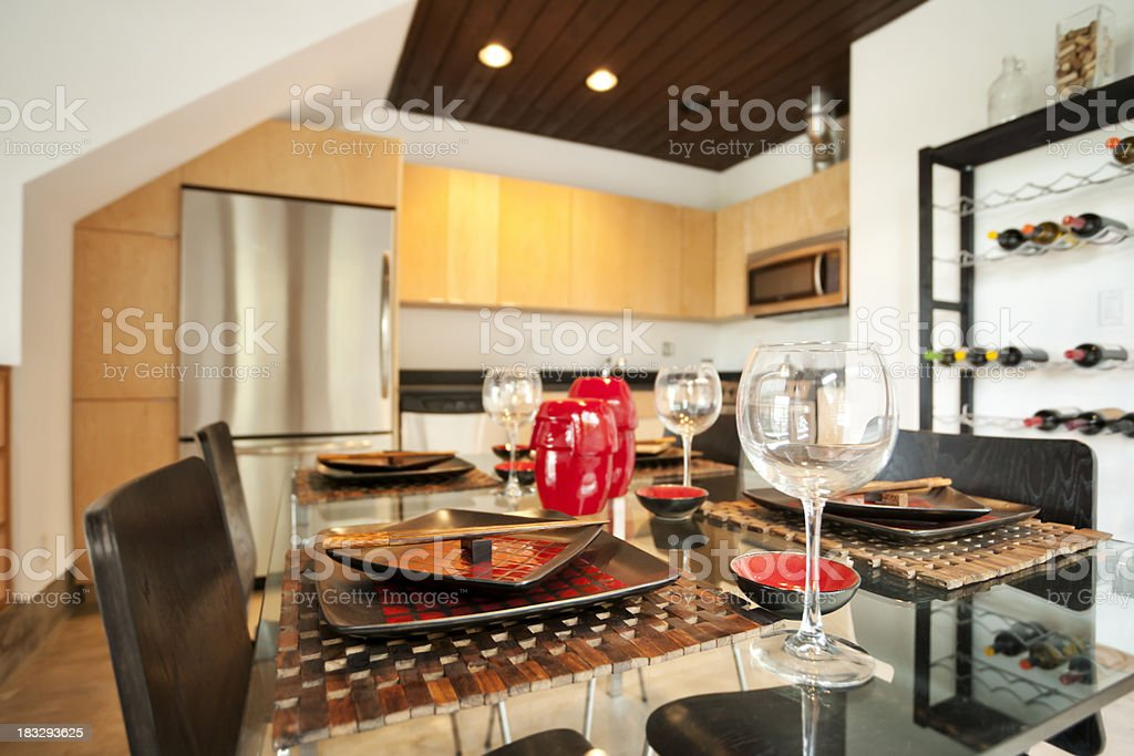 Modern Kitchen with Dining Table royalty-free stock photo