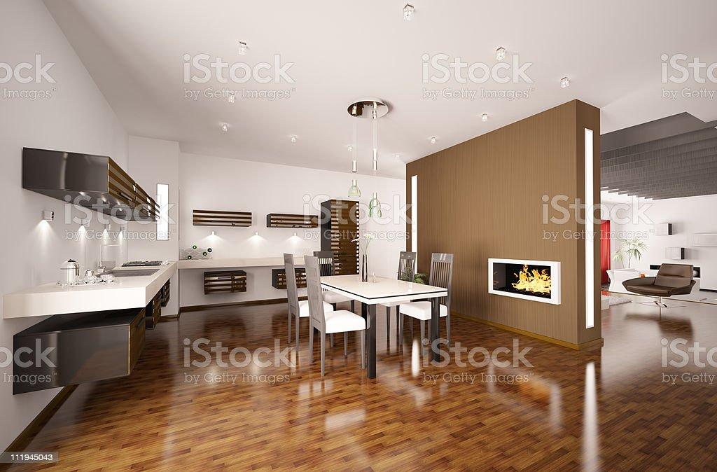 Cucina Moderna Render 3d Con Caminetto - Fotografie stock e ...