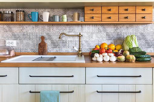 Modern Kitchen With Fresh Vegetable