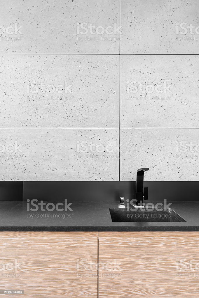 Modern Kitchen With Grey Tiles Stock Photo Download Image Now Istock